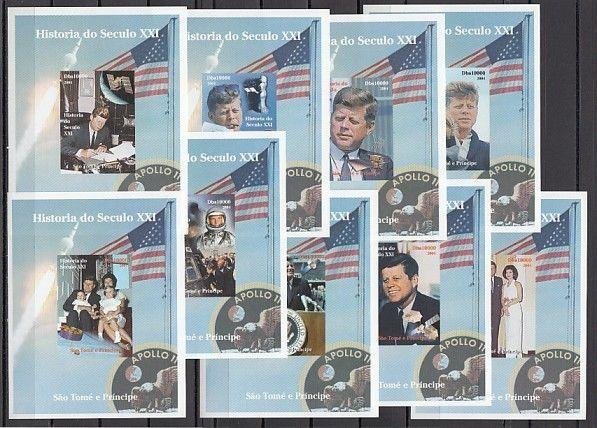 St. Thomas, 2004 issue. President John Kennedy on 9 s/sheets.