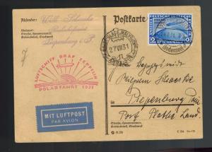 1931 Germany Graf Zeppelin Icebreaker Malyguin Cover Polar Flight # C41 LZ 127