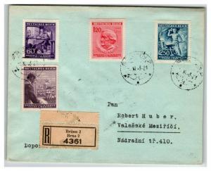 Bohemia Moravia 1943 BRUNN Registered Cover  - Z13848