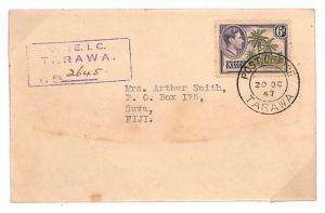 Y195 1947 Gilbert & Ellice Islands *TARAWA* Suva Fiji Cover {samwells-covers}PTS