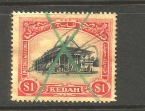 KEDAH  1912  $1  PICTORIAL  PEN CANCEL  SG 11
