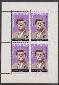 Central Africa # C24a, John F. Kennedy Memorial, Souvenir Sheet, NH, 1/2 Cat.