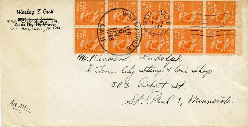 U.S. Scott 803 (10) Prexies/Prexys on 1948 Airmail Cover