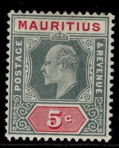 MAURITIUS EDVII SG185, 5c grey & carmine, LH MINT.