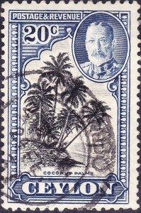 CEYLON 1935 20c Greyish Blue & Black SG 374 Fine Used