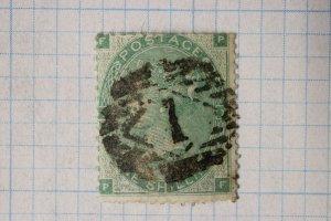 GB sc#42 used POSTAGE stamp QV sg#90 cv$160.00 trimmed perfs 1sh one shilling