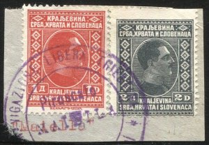 Yugoslavia  1926 Sc 43-44 Used on piece, Italian Ship Cancel: Pfo. MAISILA