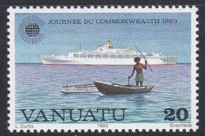 Vanuatu #350 single F-VF Mint NH ** Fisherman, boat
