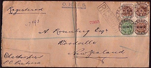 TRANSVAAL 1900 OHMS registered cover to New Zealand ex Pretoria............30767