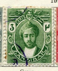ZANZIBAR; 1913 early Sultan issue fine used 3c. value