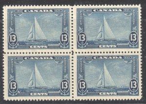 Canada #216i VF NH *The rare shilling Mark Block of 4 Variety Error* C$1450,00