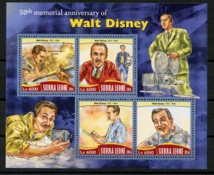 SIERRA LEONE  2016 50th MEMORIAL ANN OF WALT DISNEY  SHEET MINT NH