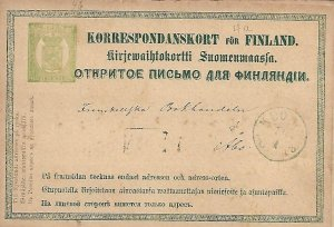 FINLAND - 1872/3 8P Postal Card - Michel 4a - Kuopio to Abo
