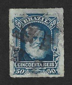 BRAZIL Scott #70 Used 50r Emperor Dom Pedro stamp 2022 CV $2.00