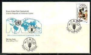 Turkish Rep. of Cyprus, Scott cat. 188. FAO Freedom From Hunger. First day cover