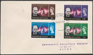 TRISTAN DA CUNHA 1966 Churchill set on plain FDC to Rhodesia..............55437