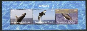 CHAD 2016  WHALES  SHEET OF THREE  MINT NH