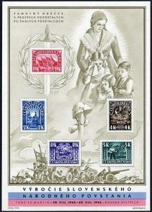 Czechoslovakia 292a card,MNH.Michel A455-A459 Bl.7. National uprising,1945.WW II