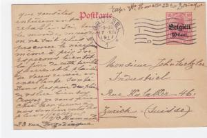 Germany Occupation Belgium 1917  stamps card R21028