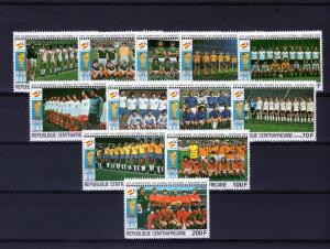 Central African Republic Football Spain set (12)Perf. mnh.vf