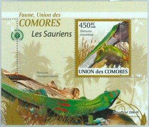 A0408 - COMORES, ERROR, MISPERF, Souvenir sheet: 2009, Lizards, Reptiles