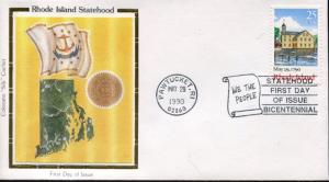 US FDC Scott #2348 Rhode Island. Colorano Cachet. Free Shipping.