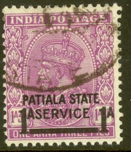 INDIA ICS PATIALA 1938 KGV 1a on 1a3p Violet OFFICIAL Scott No. O58 VFU