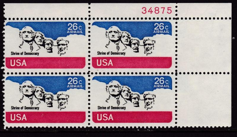 United States 1974  26cent Mt. Rushmore Plate Number Block. VF/NH