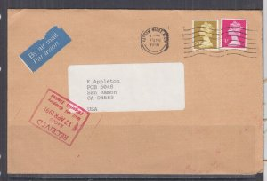 GREAT BRITAIN,1991 Airmail cover,Machin 3p., 50p. to USA,Courier to Nigeria