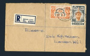 NIGERIA to ENGLAND 1957 Registered Cover BENIN CITY to LONDON