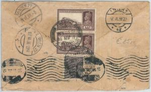 72433 -  INDIA  - Postal History -   COVER to AUSTRIA 1938 - TAXED on ARRIVAL