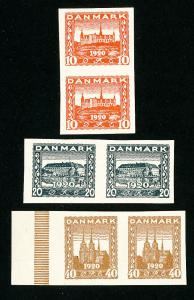 Denmark Stamps 3 Essay Pairs Very Scarce Original Color