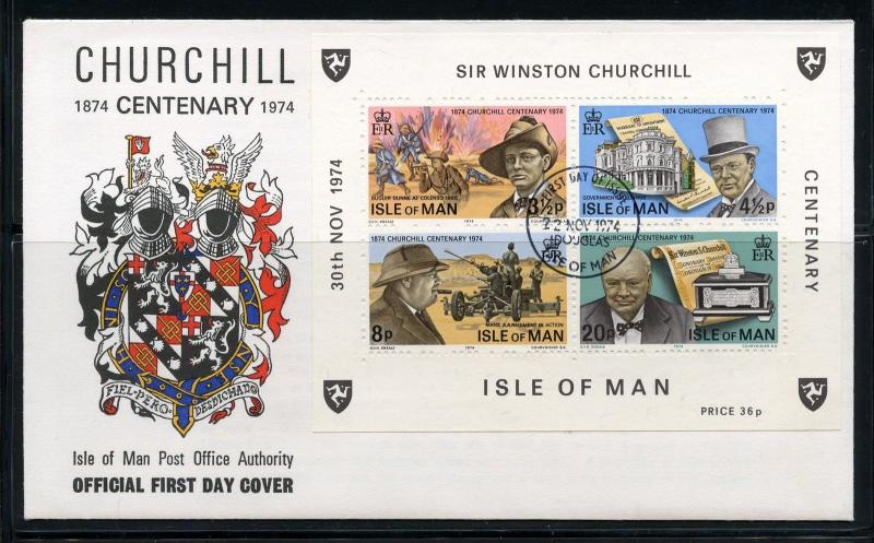 ISLE OF MAN WINSTON CHURCHILL CENTENARY SOUVENIR SHEET FIRST DAY COVER