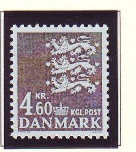 Denmark Sc 804 1988 4.6 kr gray 3 lions stamp mint NH