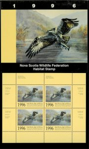 NOVA SCOTIA #5M 1996 OSPREY CONSERVATION STAMP MINI SHEET OF 4 IN FOLDER
