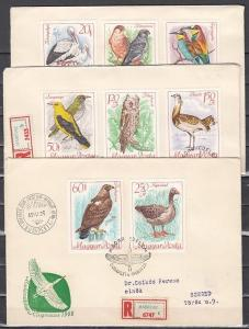 Hungary, Scott cat. 1889-1896. Birds & Owl issue. Reg`td. 3 First day covers.