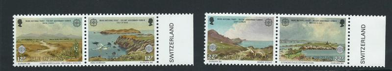 Isle of Man MUH SG 317 - 320 2 se-tenant pairs Margin Copy