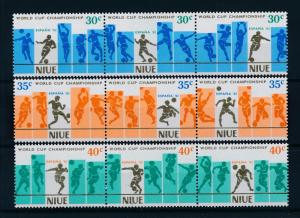 [60490] Niue 1981 World Cup Soccer Football Spain Strips of three MNH