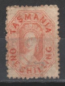 TASMANIA 1871 QV CHALON 1/- PERF 11.5