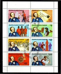 EQUATORIAL GUINEA 1979  SIR ROLAND HILL  MINT VF NH  O.G SHEET OF 8 CTO (eq12b)