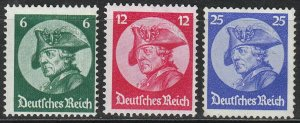 Stamp Germany Mi 479-81 Sc 398-400 1933 3rd Reich Potsdamn Great Friedrich MNG