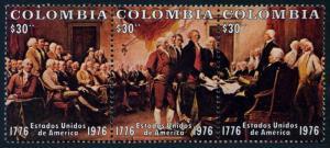 Colombia 846 ac strip,MNH.Mi 1317-1319. UUSA-200.Declaration of Independence.