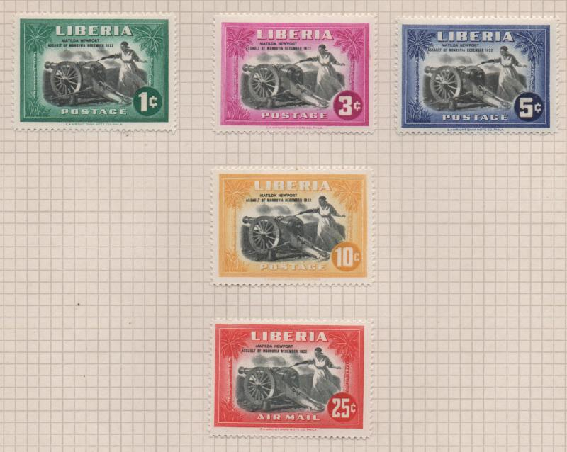 Liberia 1947 Cannon Set of 5 Stamps Sc301-C57 MH