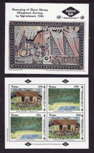 Palau-Sc#319-20- id7-unused NH sheets-Year of Indigenous People-1993-