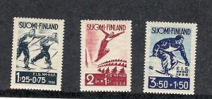 Finland, B31-33, Ski Championships, Semi-Postal Singles, MNH