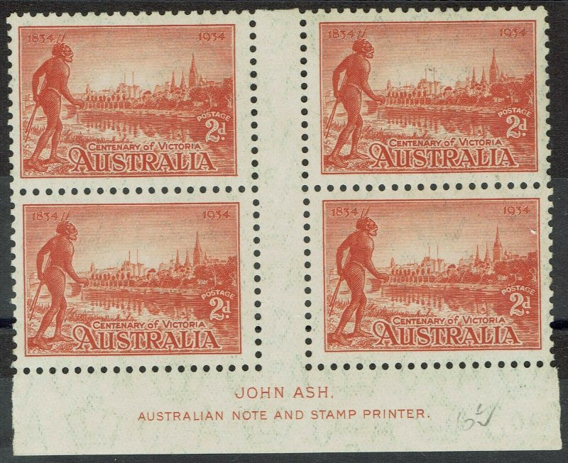 AUSTRALIA 1934 VICTORIA CENTENARY 2D PERF 10.5 IMPRINT GUTTER BLOCK MNH **