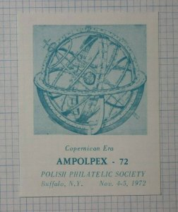AMPOLPEX 1972 Copernican Era Polish Society Buffalo Buffalo NY Philatelic Label