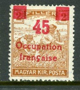 Hungary 1919 French Occupation 45f/2f Sc #1N19 Mint M904 ⭐⭐
