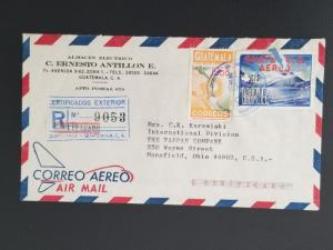 1968 Guatemala Mansfield Ohio Certified Multi Franking Air Mail Business Cover
