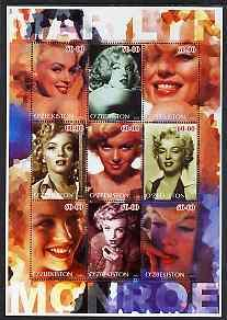 Uzbekistan 2002 Marilyn Monroe #3 perf sheetlet containin...